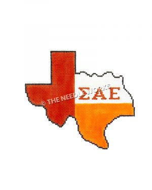 Texas shape with red, white and orange with Sigma Phi Epsilon Greek letters in orange