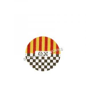 round ornament with Theta Chi letters in center and yellow and red stripes at top half and black and white checkered pattern on bottom half
