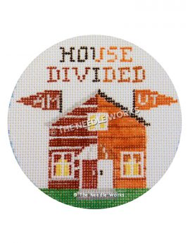 round white ornament with maroon and burnt orange house and House Divided written and AM and UT pennants flying from house