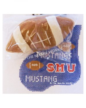 blue stocking with footballs and SMU Mustangs written in red and white with 3D football