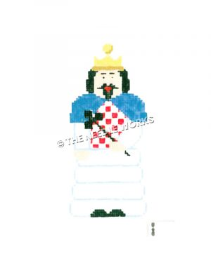 dark haired king in white and blue robe with red and white checkered shirt holding club-headed wand