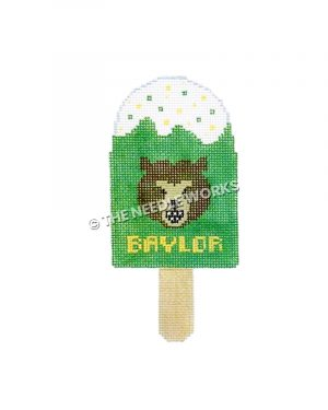 green ice cream bar with bear's face and Baylor written in gold