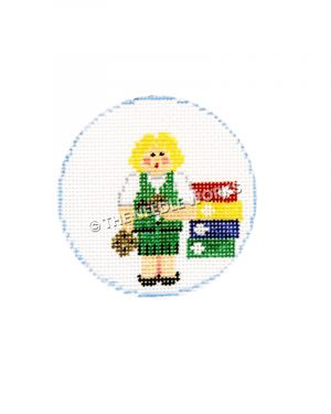 white round ornament with blonde girl in brownie uniform with boxes of cookies
