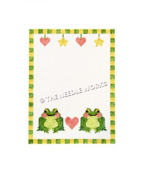 two green frogs with pink heart in between and hearts and stars hanging at top with yellow and green checkered border