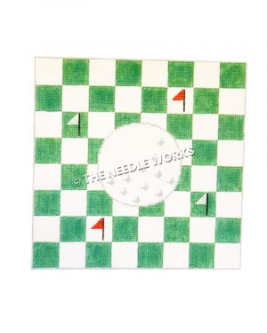 golf ball with red and white pins on green and white checkered background