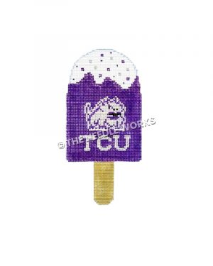 purple ice cream bar with white horned frog and TCU written in white