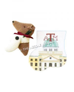 stocking with ATM building and ATM written in maroon with 3D collie head
