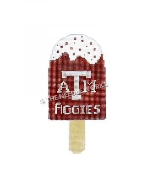 chocolate ice cream bar with ATM Aggies written in white
