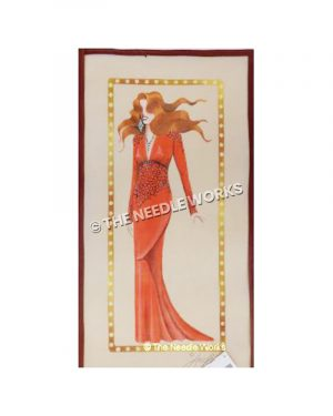 red-haired woman in long red dress with large diamond jewelry with gold and white circled border