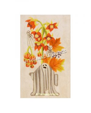 three ghosts with autumn leaves and orange flowers