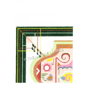 corner of vase with abstract multi-colored decorations and green, yellow, and red border