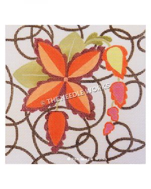 red flower with gold, pink and red hanging flower vine on white background with black swirls