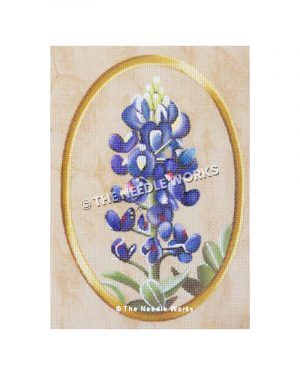 bluebonnet with gold oval frame