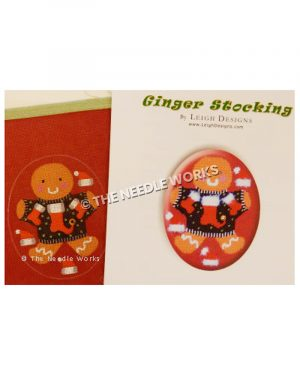 gingerbread ornament wearing black sweater with red stockings and Santa hats surrounding