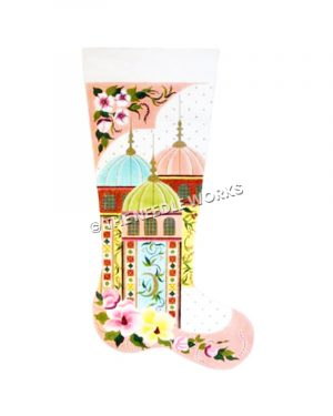pink stocking with blue, green and pink domed buildings and white, pink and yellow flowers