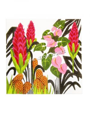 pink flowers and cattails with black outlined leaves on white background
