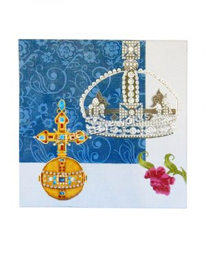 diamond jeweled crown and gold cross with jewels on blue and white decorative background and pink flower