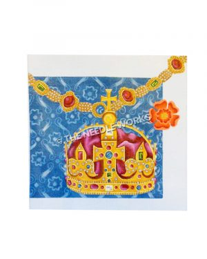 elaborate crown with jewels with cross on top and jeweled necklace with blue and white decorative background and orange flower