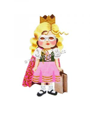 blonde girl in pink and white dress with green corset wearing a crown, pink and gold robe, and silver mask carrying a candy bag