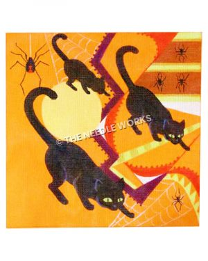 three black cats on orange abstract background with moon, spiders, and large black widow spider