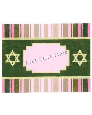 green frame with yellow Stars of David and green and pink striped border