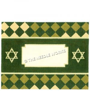 green frame with yellow Stars of David and green and yellow checkered border