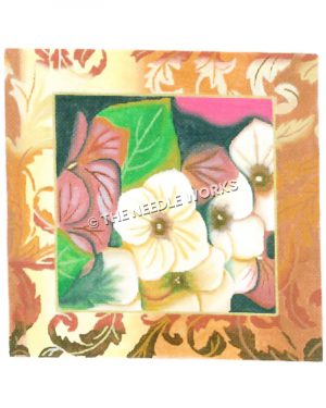 white and pink flowers with gold decorative border