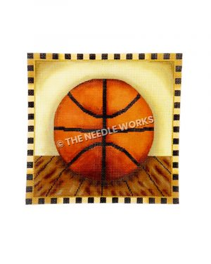 basketball on wooden floor with black and yellow squared border