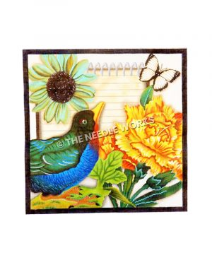 blue, green and red bird with white and yellow flowers and black and white butterfly with notepad in background