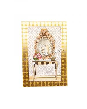 vanity with elaborate gold round mirror above table with pink flowers and empty vase, gold plaid border