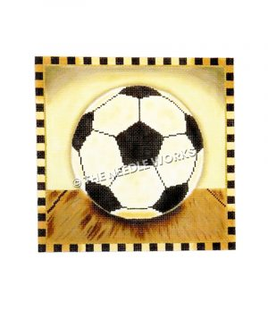 soccer ball on wooden floor with black and yellow squared border