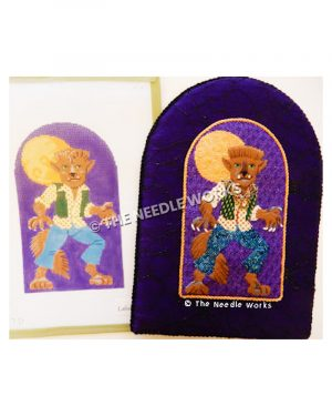 brown werewolf wearing white shirt with gold polka dots, green vest with gold polka dots, blue pants standing in front of full moon on purple background