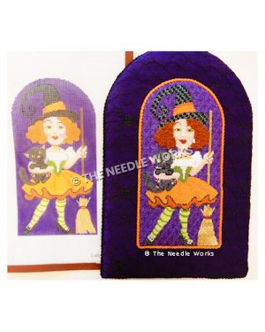 red-headed witch wearing white blouse with green corset, orange skirt, and green striped stockings carrying black cat and broom on purple background