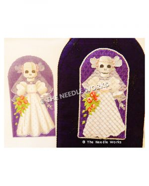 skull bride carrying red flower bouquet on purple background