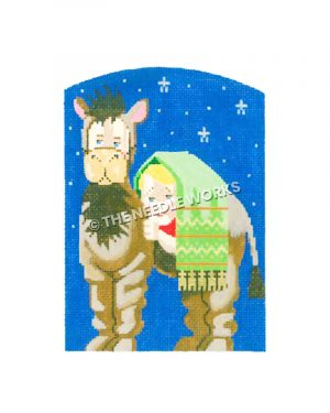 nativity camel with child hiding in green blanket on back with starry background