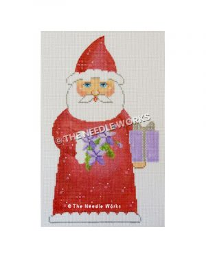 Santa in red robe carrying purple flowers and purple present