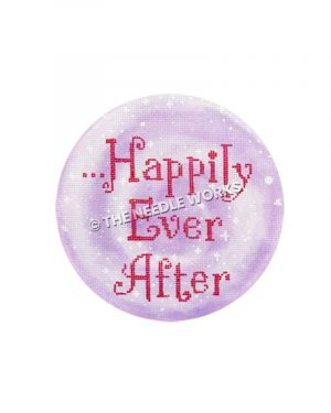 purple round ornament with ...Happily Ever After written in pink