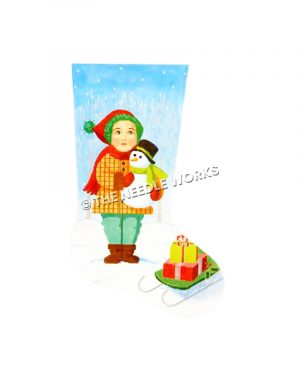 stocking of boy holding snowman standing in snow next to green sled with presents