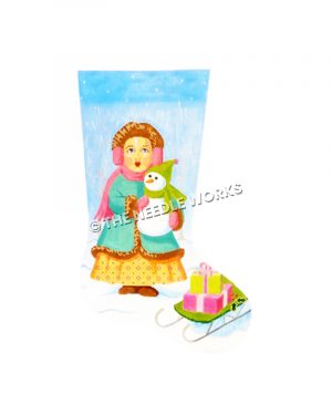 stocking of girl holding snowman standing in snow next to green sled with presents