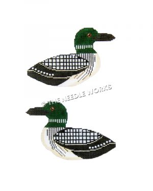 two-sided duck with green head, white bellies and black and white feathers
