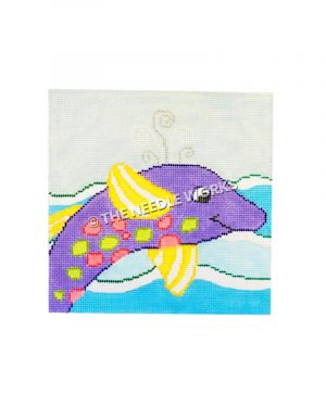 purple dolphin with yellow and white striped fins