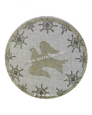 round white ornament with gold dove and snowflake border