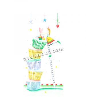 cupcakes stacked and fairy standing on ladder decorating top with pink heart