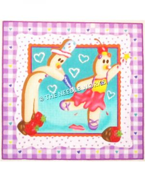 gingerbread man and woman with purple and white plaid border