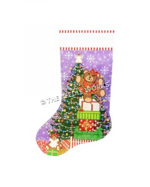 purple stocking with Christmas tree and teddy bear in red dress dancing on stack of presents
