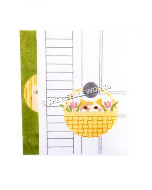 calico cat with flowers hanging in basket from door knob with child peeking behind door