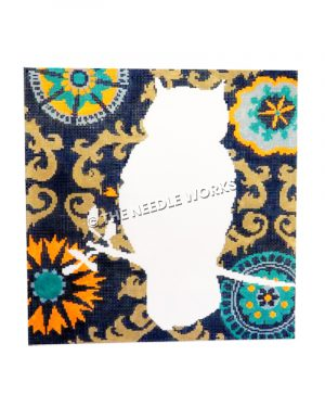 white owl sihouette with blue and gold decorative background
