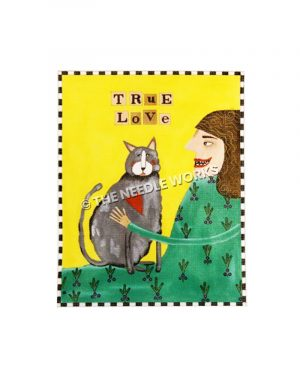 brunette woman in green dress with gray cat and words True Love written above