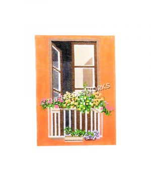 balcony window with flowers
