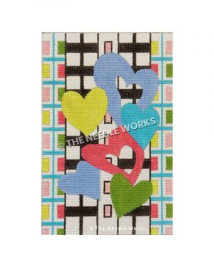 blue, pink and green hearts with green and pink checkered border